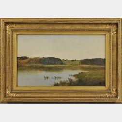 John Frederick Kensett (New York/Connecticut, 1816-1872)      Pond in Newpt