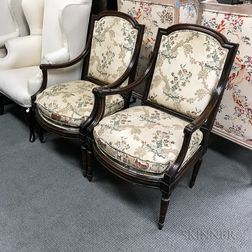 Pair of Louis XVI-style Carved and Upholstered Walnut Fauteuil