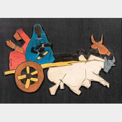 Maqbool Fida Husain (Indian, 1913-2011)      Toy Ox Cart