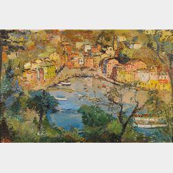 Michele Cascella (Italian, 1892-1989)      Panoramic View of Portofino, Italy