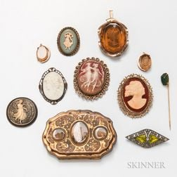 Group of Antique and Cameo Jewelry
