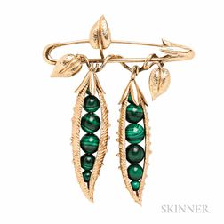 "18kt Gold and Malachite ""Peapod"" Brooch, Schlumberger, Tiffany & Co."