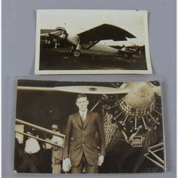 Spirit of St. Louis Snapshot Photograph and a Charles A. Lindbergh Portrait Postcard.