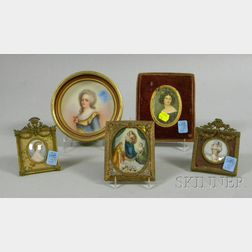 Five Miniature Framed Hand-painted and Printed Portrait Plaques