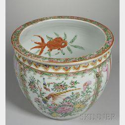 Chinese Export Porcelain Rose Mandarin Fish Bowl