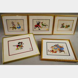 Five Framed Limited Edition Walt Disney Serigraph Cels