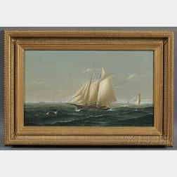 American School, 19th Century      American Schooner in Coastal Waters with Lighthouse and Distant Vessels.