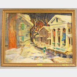 Marie Bruner Haines (American, 1881-1979)      Bennington, Vermont, Street Scene in Winter