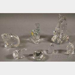 Seven Colorless Art Glass Animal Figures
