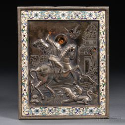 Russian Icon of St. George Slaying the Dragon
