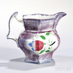 Purple Spatterware Pitcher