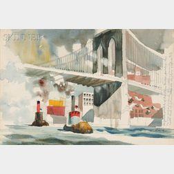 Dong Moy Chu Kingman (American, 1911-2000)      Sketch of Brooklyn Bridge