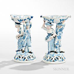 Pair of Meissen Porcelain Figural Salt Dishes
