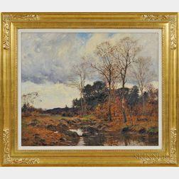 William Merritt Post (Connecticut, 1856-1935)      Late Fall Landscape with Stream