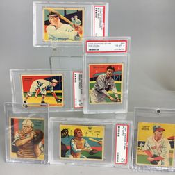 Eight 1934 and 1935 Diamond Stars Baseball Cards