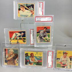 Eight 1934 and 1935 Diamond Stars Baseball Cards