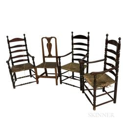 Three Painted Ladder-back Armchairs and a Queen Anne Maple Side Chair.     Estimate $20-200
