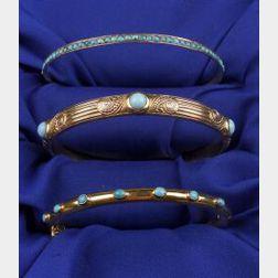 Three Turquoise Bangle Bracelets