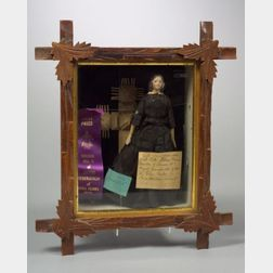 Early Papier Mache Shoulder Head Doll in Display Case with Provenance
