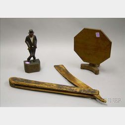 Miniature Furniture and Two Folk Carved Figural Items