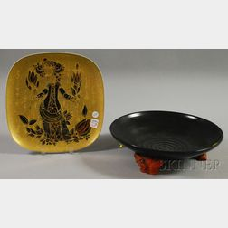 Bjorn Wiinblad/Rosenthal Studio-linie Gilt Porcelain Footed Center Plate and a Staatliche-Majolika Glazed Pottery Footed Center Bowl...