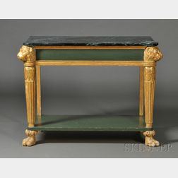 Regency Giltwood Marble-top Console Table