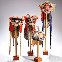 Four Embroidered Silk Children's Hats