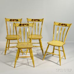Set of Four Yellow-painted Windsor Side Chairs