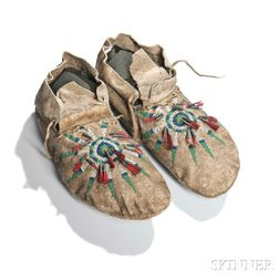 Upper Missouri River Beaded Hide Moccasins