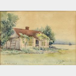 Charles Albion Clark (American, 19th/20th Century)      Farmhouse and Lake