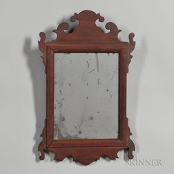 Red-painted Scroll Frame Mirror