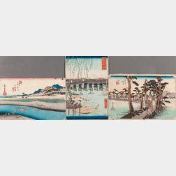 Utagawa Hiroshige (1797-1858), Six Woodblock Prints