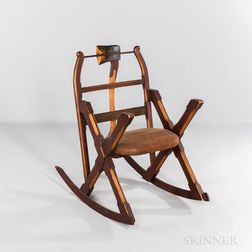 Carved and Painted Rocking Chair with Axe and Saw Back