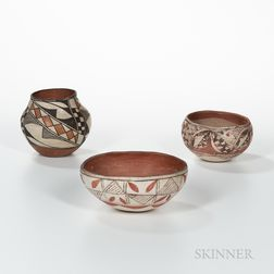 Three Small Acoma Polychrome Pottery Vessels