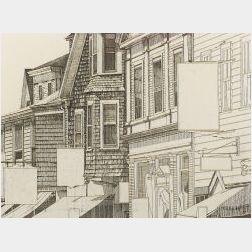 Scott Prior (American, b. 1949)  Provincetown Rooftops