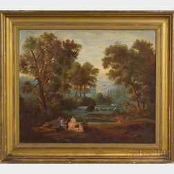 After Thomas Cole (American, 1801-1848)    Allegorical Painting with Figures in a Landscape.