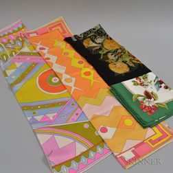 Four Designer Silk Scarves