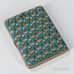 Russian .875 Silver and Cloisonne Enamel Cigarette Case