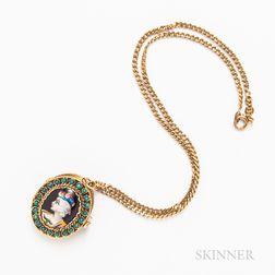 14kt Gold, Enamel, and Turquoise Locket Pendant/Brooch
