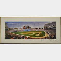 Seven Framed Offset Lithograph Baseball Prints