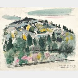 John Marin (American, 1870-1953)      Hilltop, Autumn, Maine