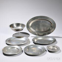Nine Pieces of Pewter Tableware