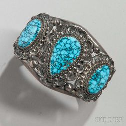 Navajo Silver Bracelet with Spiderweb Turquoise Settings