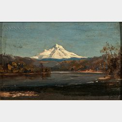 Thomas Hill (American, 1829-1908)      Mount Hood from the Junction of the Columbia and Willamette Rivers