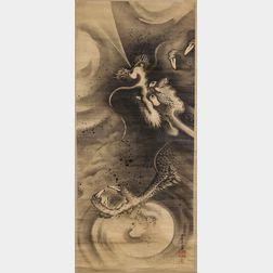 Hanging Scroll Depicting a Dragon