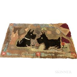 Small Hooked Rug with Scottish Terriers