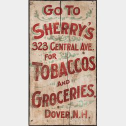 "Painted Wood ""Sherry's Tobacco and Groceries"" Advertising Sign"