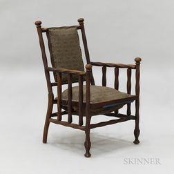 Country Turned and Stained Maple Armchair