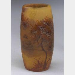 Daum Scenic Enameled Vase