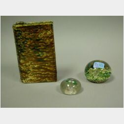 New England Glass Floral Paperweight, Another Paperweight and a Bennington Glazed Book Flask, Departed Spirits.